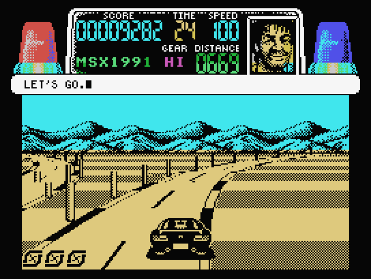 The MSX version is a slightly slower, slightly more muted take on Spectrum Chase HQ