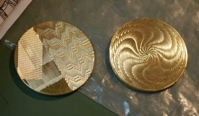 Straightline machine patterns (left) and rose engine moray (right)