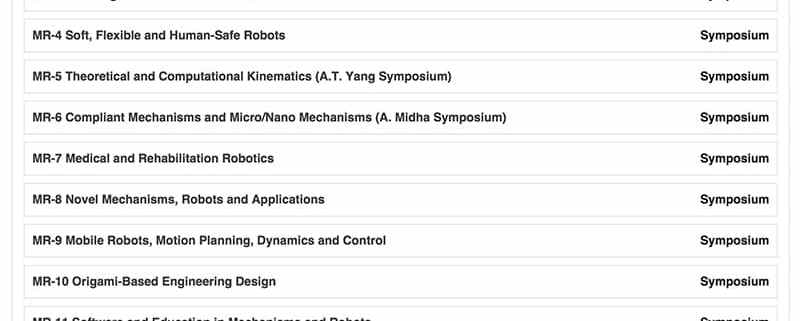 Mechanisms and Robotics Conference