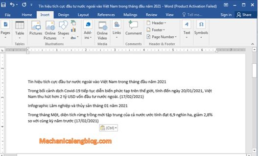 Use Paste feature in Word