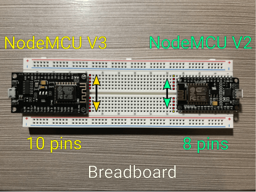 NodeMCU V2 and NodeMCU V3 attached to a breadboard