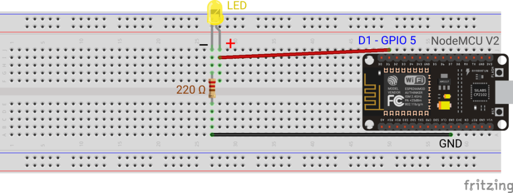 LED connected to a NodeMCU V2 board