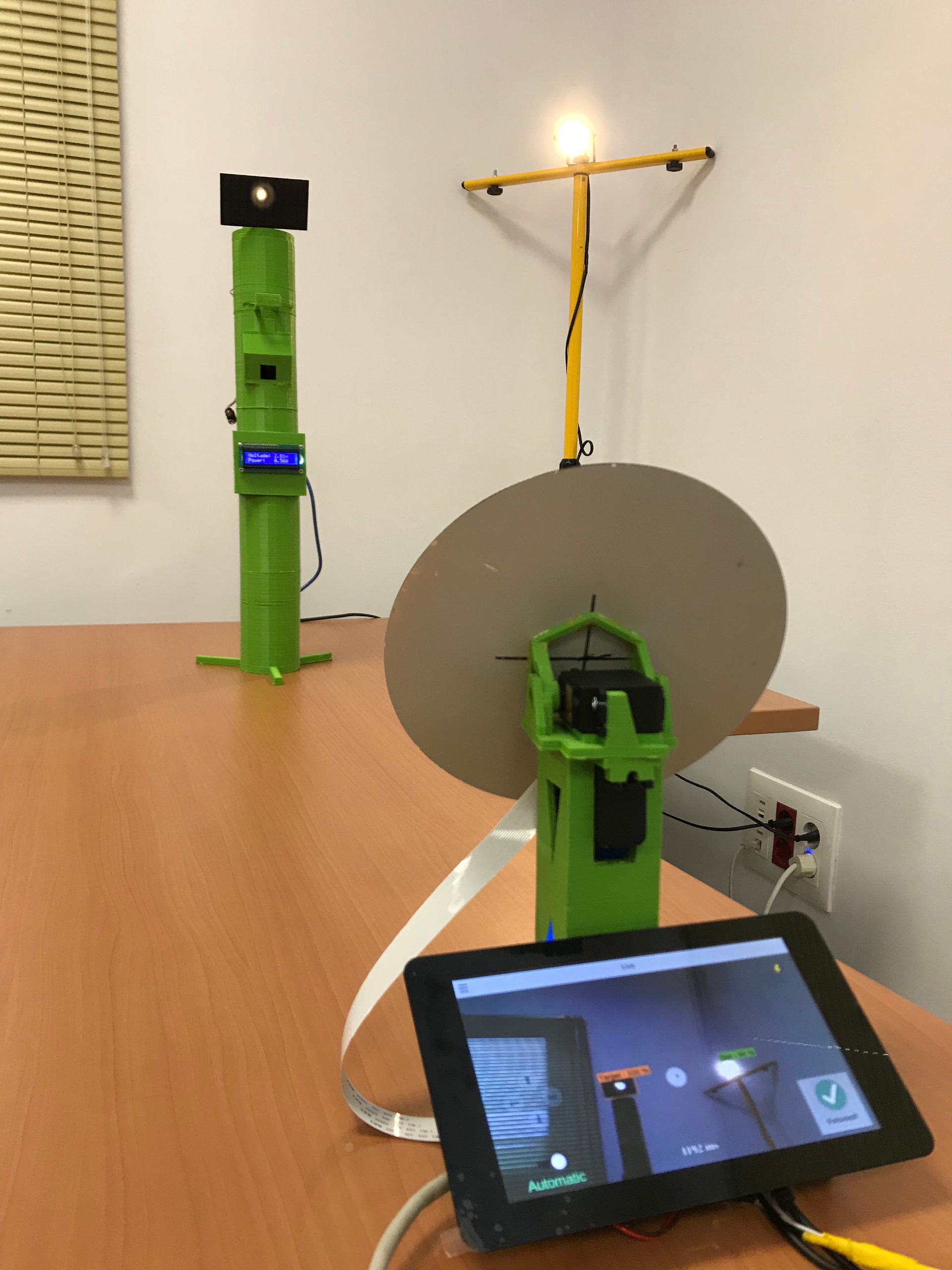 Smart solar tower power mockup based on deep learning for computer vision