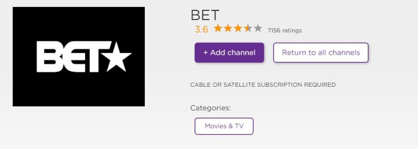 How to add BET On Roku