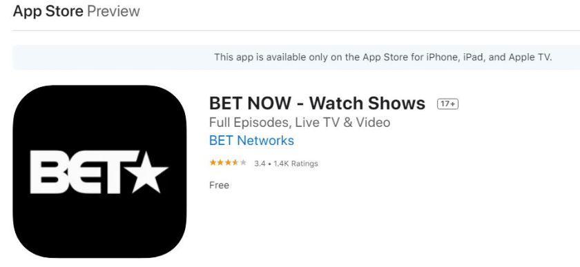 Bet app on apple tv