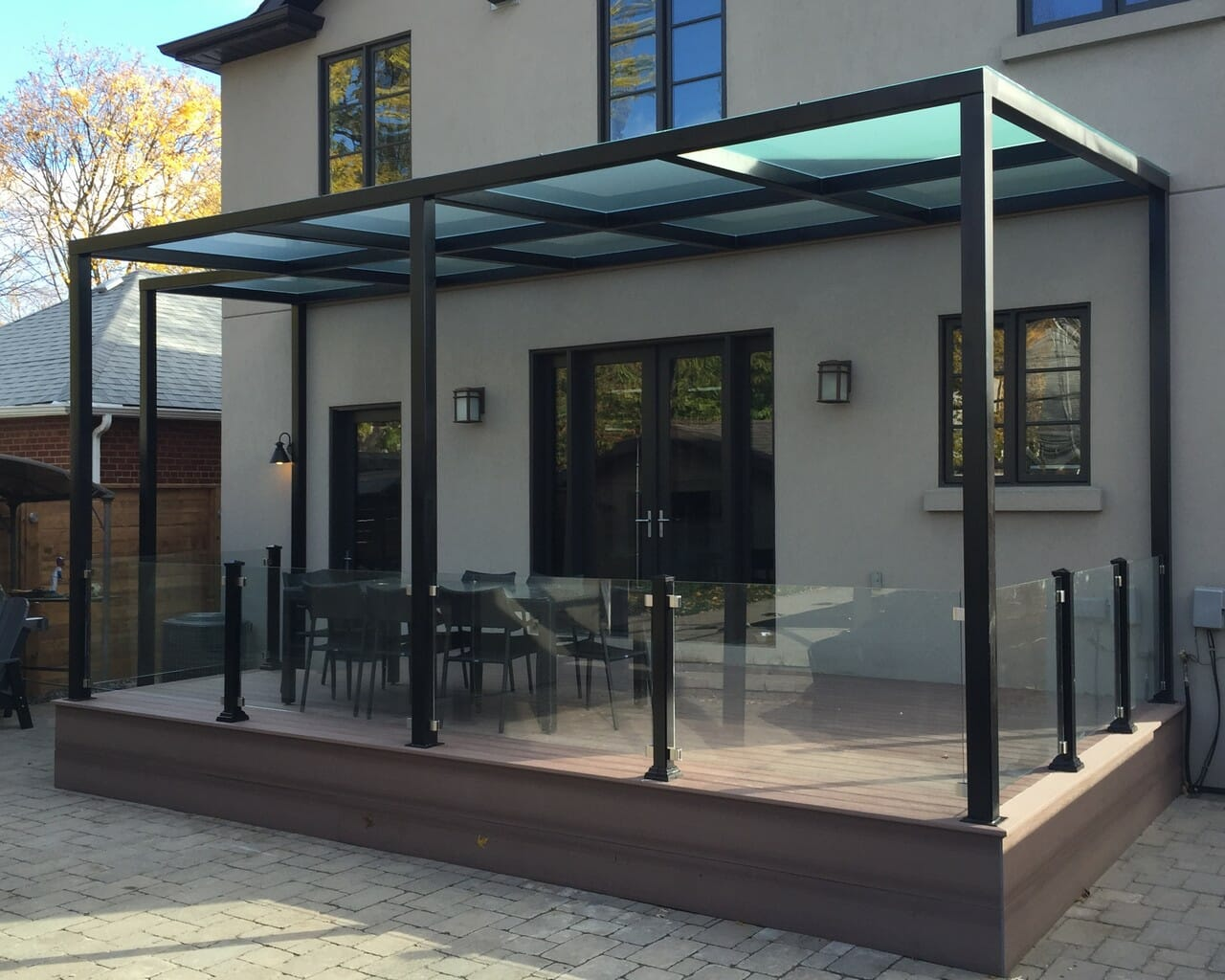 Pvc Deck With Pergola And Glass Railings M E