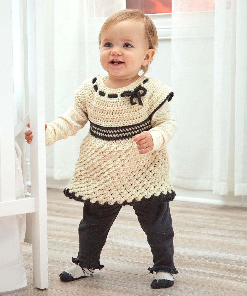 3 Cute Crochet Childrens Dress Patterns Bas Special Tunic Red Heart
