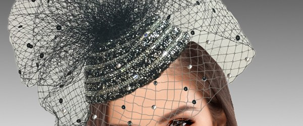 Crochet Fascinator Pattern  2422 Enzo Bl Pave Crystal Encrusted Fascinator With A Coquettish Vei