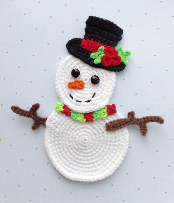 Crochet Pattern For Snowman Pattern Snowman Applique Crochet Pattern Pdf Christmas Etsy