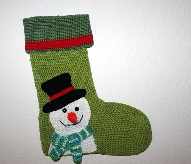 Crochet Pattern For Snowman Snowman Xmas Stocking Crochet Pattern