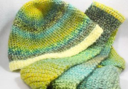 Crocheted Hats And Scarves  Crochet Hat Scarf Set Green Beanie Long Green Scarf Etsy