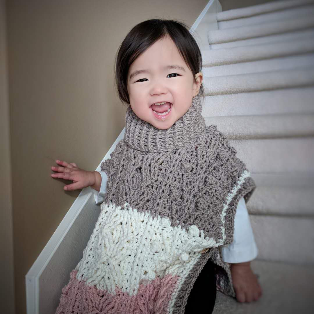 List of Free Crochet Patterns for Toddlers Ponchos Crochet Pattern Hugs Kisses Toddler Poncho Etsy