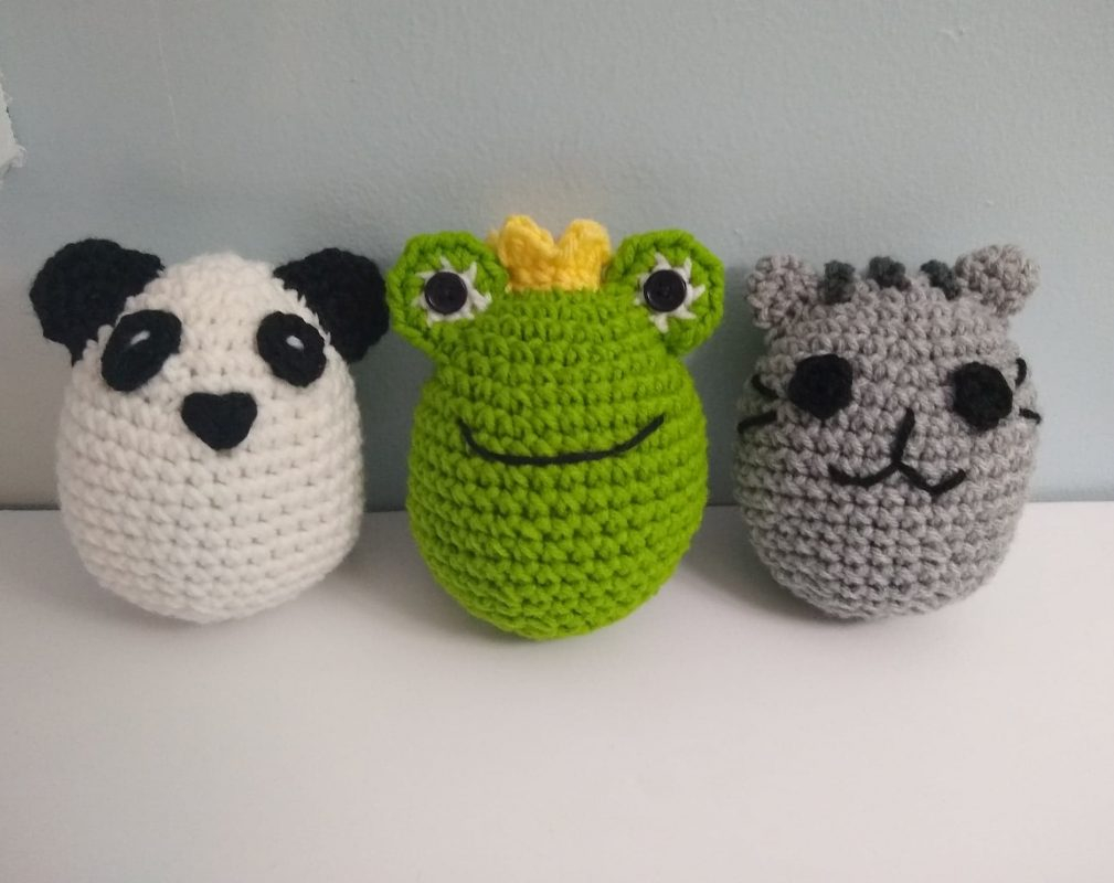 Quick Large Crochet Doll Patterns to Choose Large Crocheted Frog Egg Panda Egg Or Gray Kitty Egg Doll Perfect