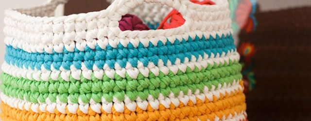 T Shirt Yarn Crochet Patterns  Crochet Pattern Rainbow Storage Basket My Poppet Makes