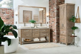 """72"""" double sink vanity with square legs & slat shelf. (Matching mirror above)"""
