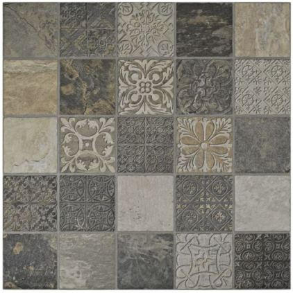 Wayfair Deco Maximilano 17.5 x 17.5 Porcelain field tile in Gray Brown (detail)