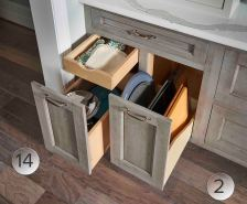 Pull-out storage for trays and tiered storage keeps like items together.