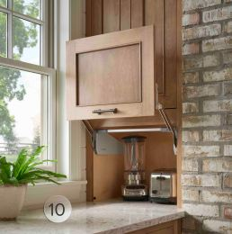 Tuck small appliances away behind a lift-and-stay counter garage.