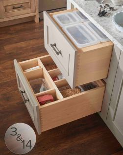 Customize deep drawers with bins for bulk items (top drawer) and adjustable dividers for organizing (bottom drawer).