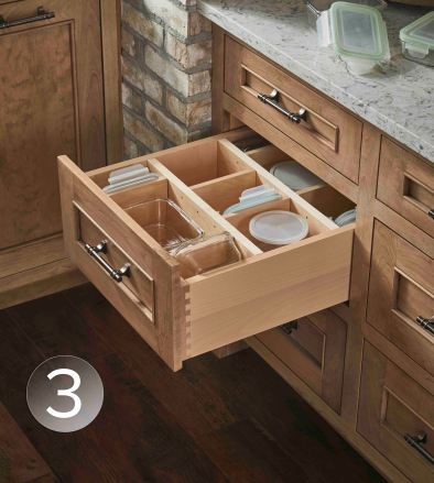 Deep drawers with adjustable dividers allow you to customize and change the contents of your drawers.
