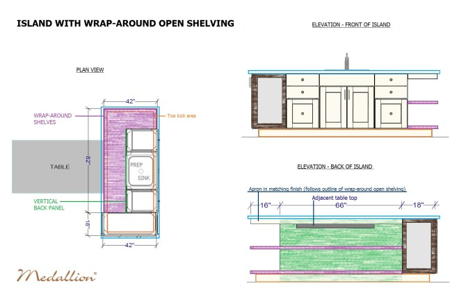 ISLAND WITH WRAP-AROUND OPEN SHELVING_MEDALLION_SIPS AND TIPS