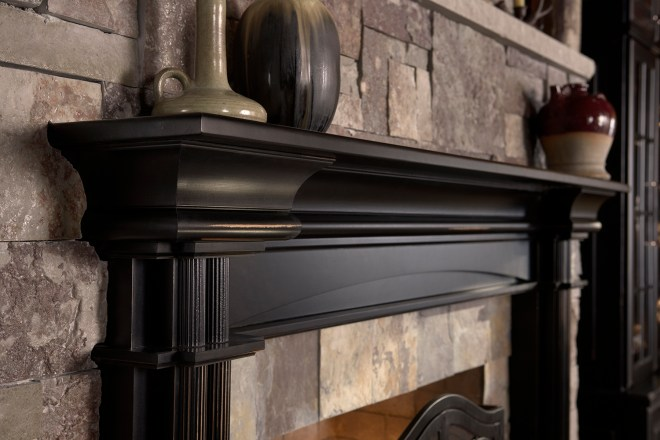 Yukon hickory Natural; Rushmore Raised Panel (RP) knotty alder Carriage Black Ebony Glaze with Heirloom Distressing; Mantel in cherry Carriage Black Ebony Glaze with Heirloom Distressing
