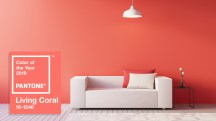 Living Coral Interior / Color of The Year / 3D render interior