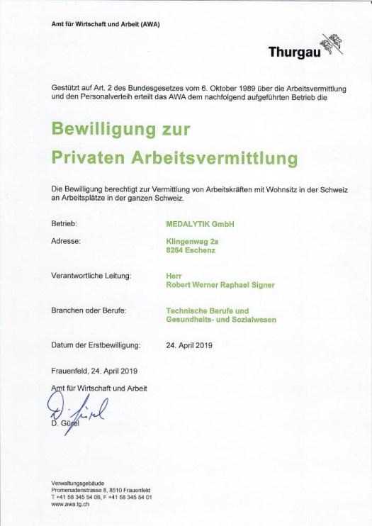 Bewilligung zur Privaten Arbeitsvermittlung TG