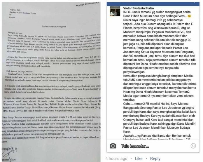 Isi surat somasi dari Ebenezer Pinem (kiri) dan Isi komentar akun FB Viator Bastanta Purba (kanan) . MTD/Int