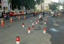 Masyarakat Kota Medan sedang mengikuti Uji Simulasi SIM yang dibuat Satlantas Polrestabes Medan di Lapangan Merdeka, Minggu (15/10/2017)