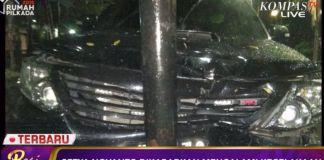 Diduga mobil Ketua DPR RI Setya Novanto menabrak tiang listrik, Kamis (16/11/2017) malam.(Dok. Kompas TV)