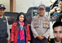Syakila dibantu petugas polisi. (Insert: Foto Sugeng palsu dan yang asli).