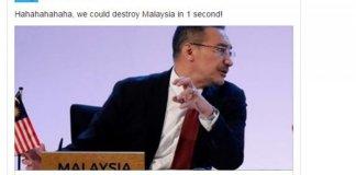 Screen shot facebook Jews News yang menertawakan pernyataan Menhan Malaysia
