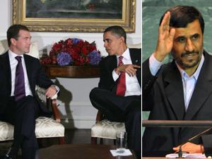 Medvédev y Obama, en una reunión bilateral. A la derecha, Ahmadineyad, durante su discurso en la ONU. Foto: EFE