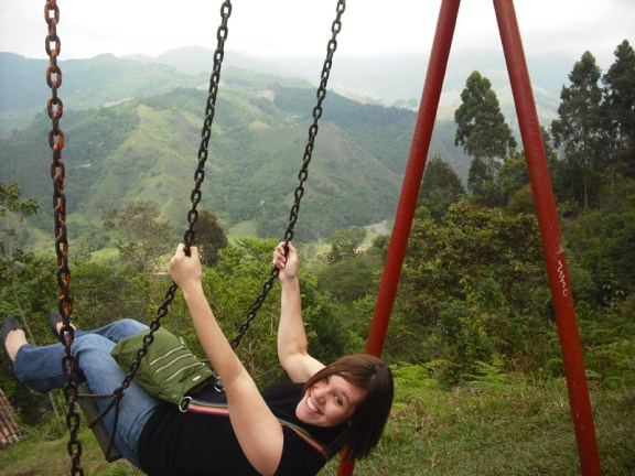 Swinging in Salento, a small town in the coffee region.