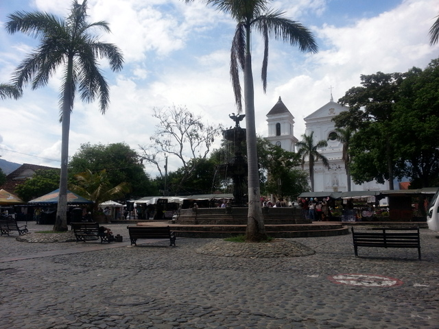 The main church and plaza of Santa Fe de Antioquia
