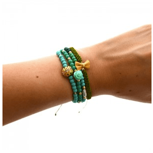 Set of 4 cute green bracelets. Delicate and feminine.