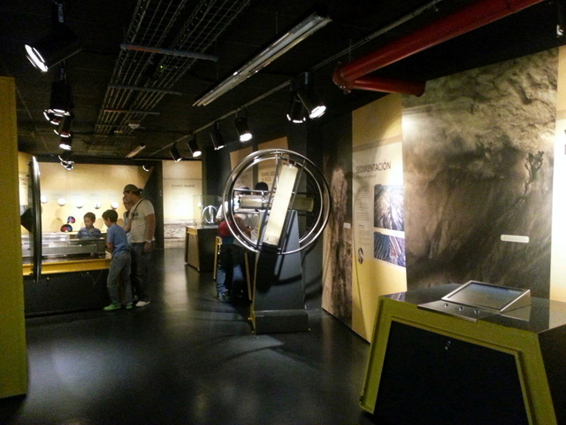 Interactive exhibits inside the planetarium.