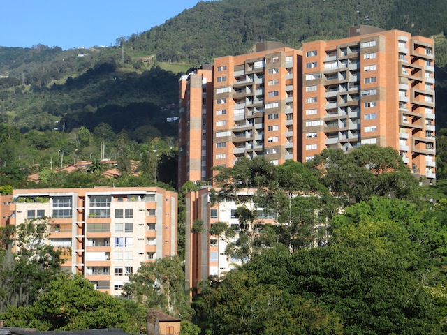 A view of some of the apartment buildings near City Plaza