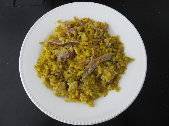 A Plate of Rice & Meat from Our Lechona