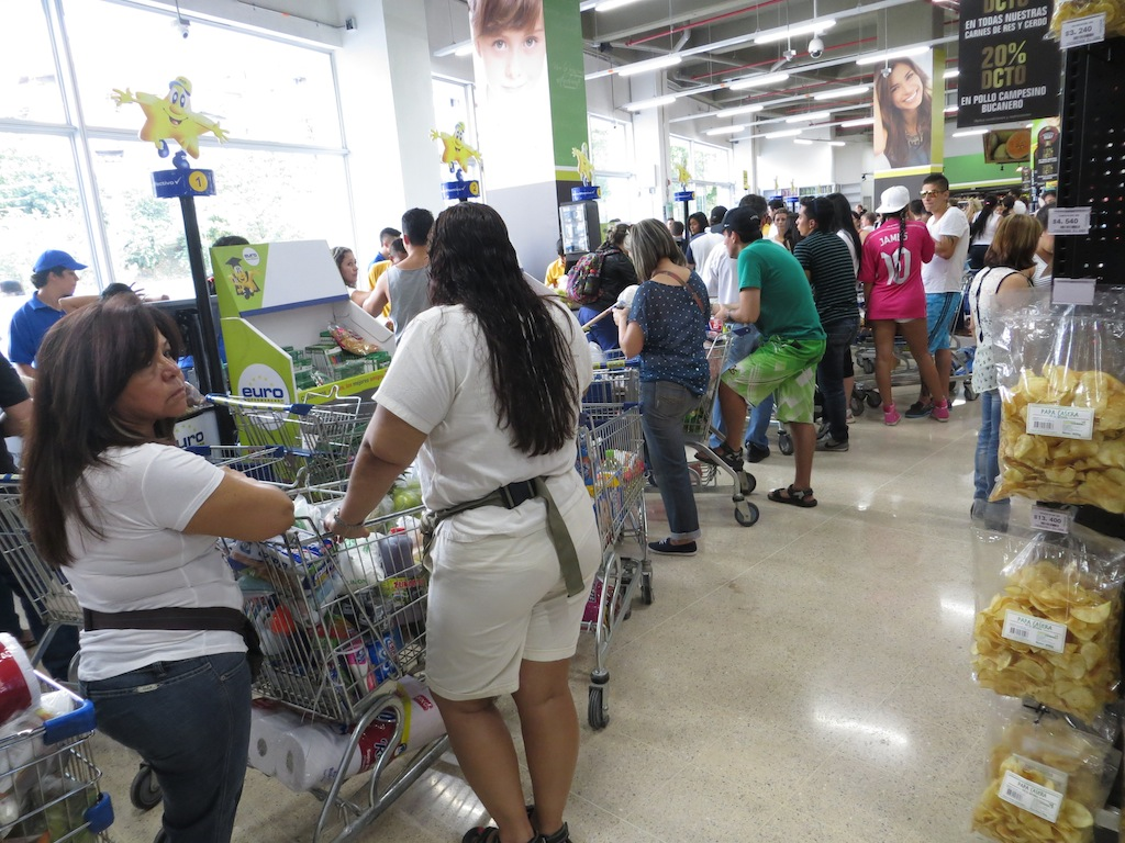 Busy checkout lines during the store opening promotion