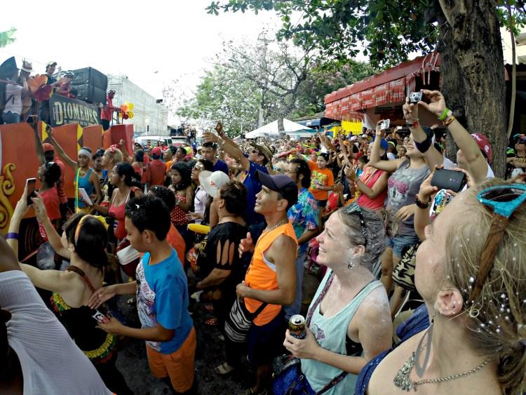 Foam flying at Carnaval de Barranquilla
