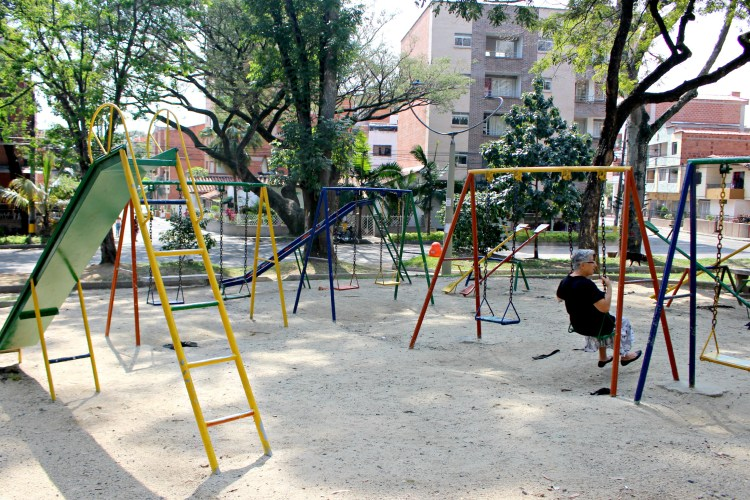 The playground in Parque de La Floresta is enjoyed by all ages