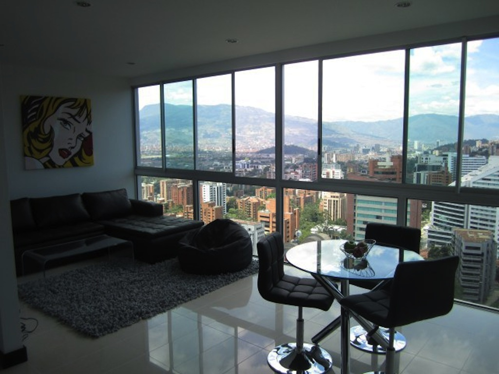 A typical furnished apartment living room in Medellín