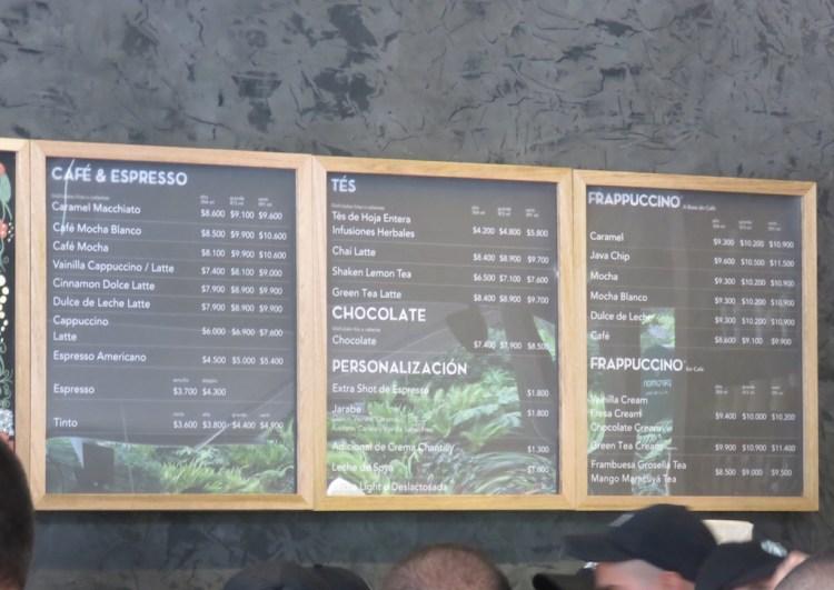 The menu at Starbucks in Medellín