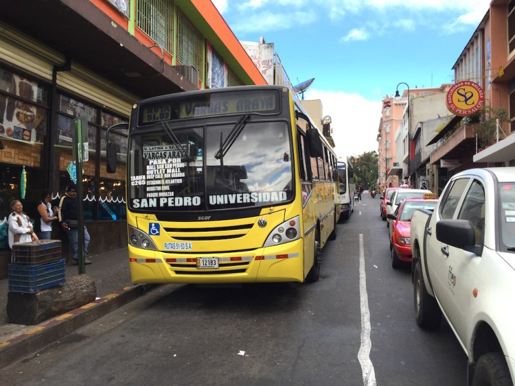 Buses in downtown San Jose, Costa Rica, photo by Arnold Reinhold