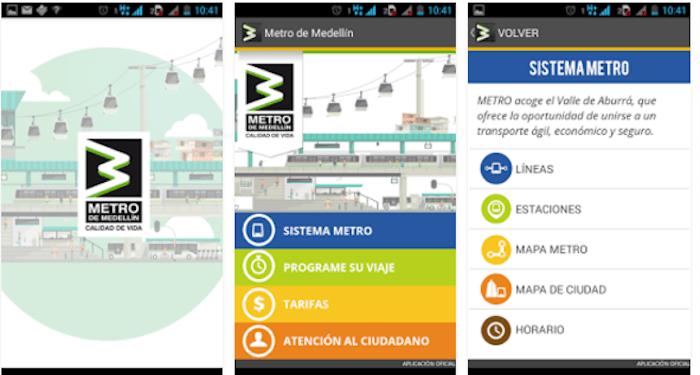 Metro de Medellín App, courtesy of Metro de Medellín