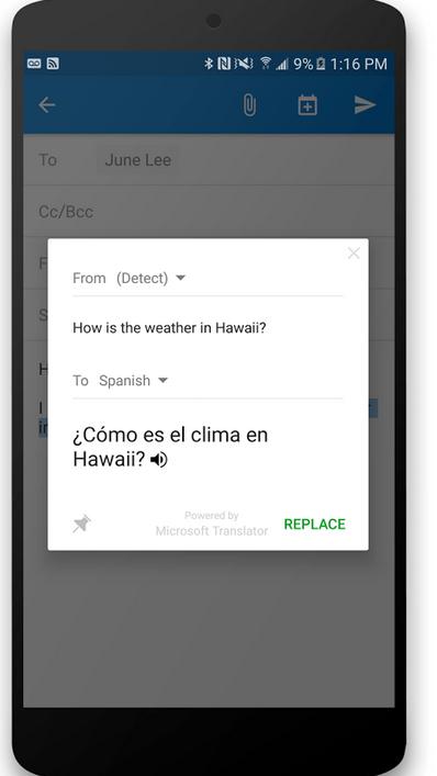 Microsoft Translator App, courtesy of Microsoft