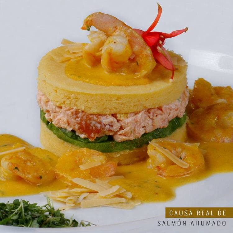 Gato's royal potato terrine with smoked salmon