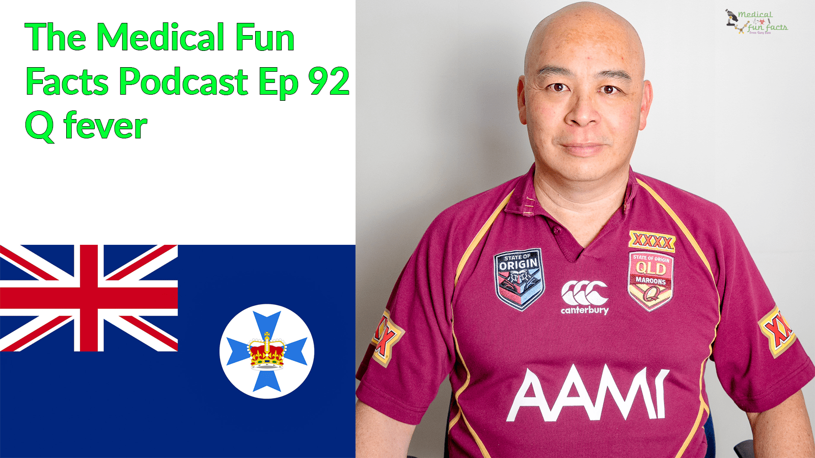 The Medical Fun Facts Podcast episode 92 Q fever and Coxiella burnetii Gary Lum and Queensland flag